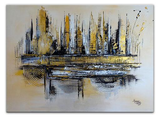 262 Verkaufte abstrakte Malerei silber gold xxl bild querformat