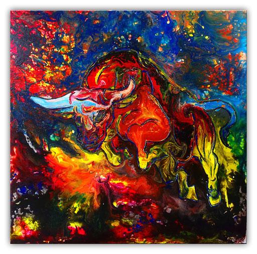 T 29 - Tierbilder Malerei Tiere - Wilder Stier abstrakt blau