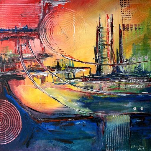 173 Verkaufte Bilder abstrakt - Skyline Gemälde blau gelb rot