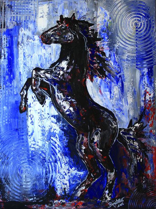 T 24 - Tierbilder Malerei Tiere - Pferd steigend