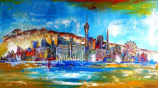 S 46 -Las Vegas Skyline 80x140 - Auftragsmalerei Stadtbild Stadt Gemälde