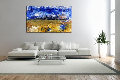 294 - Abstraktes Gemälde Drachenkämpfe 70x120