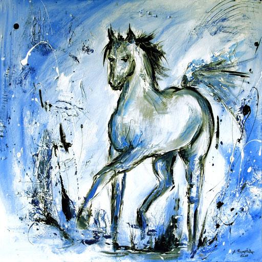 T 22 - Tierbilder Malerei Tiere - Pferd Schimmel