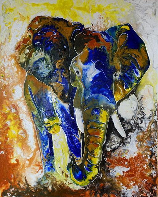 T 3 - Tierbilder Gemälde Tiere - Elefant modern bunt