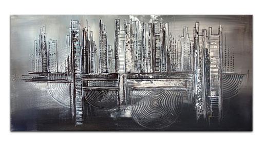 287 - Abstrakte Gemälde Verkauft - Atlantis grau schwarz 50x100