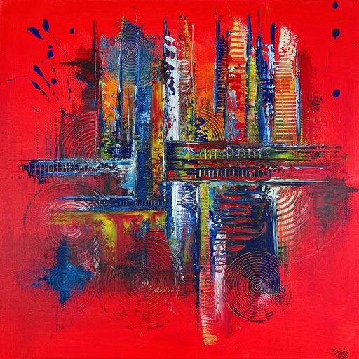 51 abstraktes Unikat handgefertigt - Fabrik - blau rot