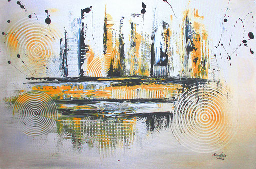 136 Verkaufte abstrakte Bilder - Silber grau gold ocker