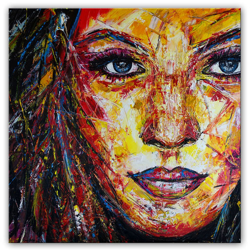 P 96 Gesicht Porträt Frau rot gelb abstrakt gemalt