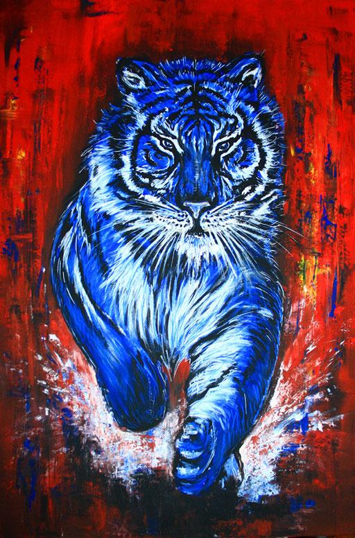 T 17 - Tierbilder Malerei Tiere - Tiger orange blau