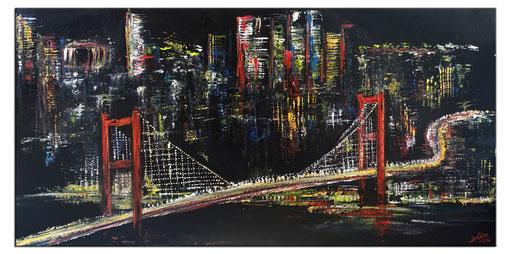 S 88 - Malerei Bild Wandbild Istanbul bei Nacht Skyline abstrakt