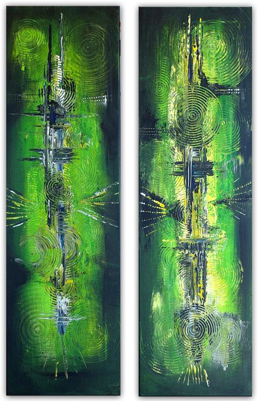 256 Verkaufte abstrakte Malerei grün gelb schwarz zweiteiler