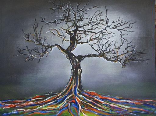 L 1 - Baum Wurzeln abstrakt gemalt mystisch