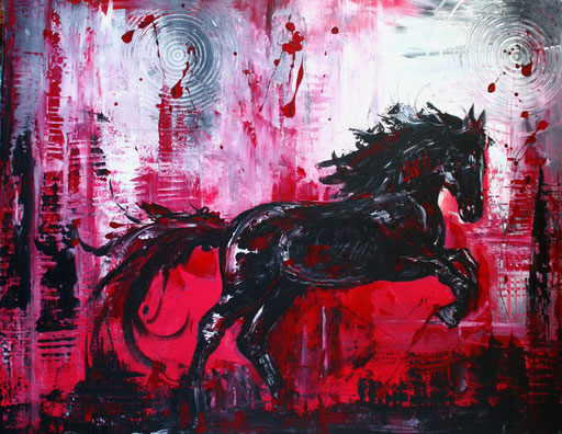 T 14 - Tierbilder Malerei Tiere - Springpferd Hengst grau rot
