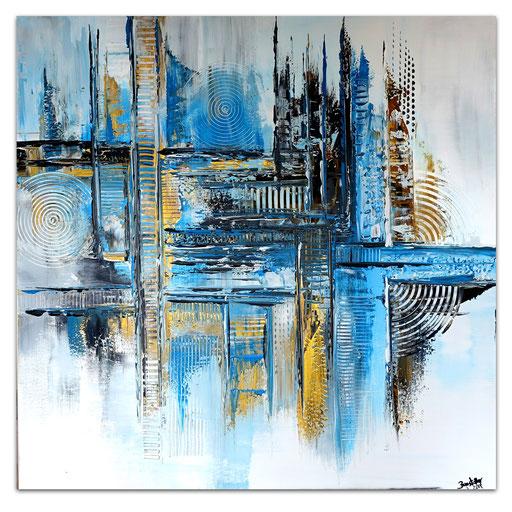 308 - Brise abstrakt Türkis Blau 100x100