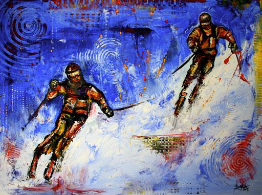 S 10 - Sport Gemälde Skifahrer Leinwandbild - Pistengaudi