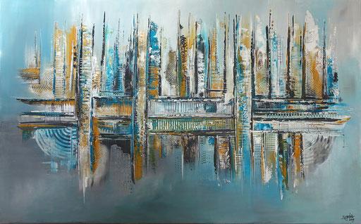 270 - Abstrakte Gemälde Verkauft - Petrol Auftragsmalerei