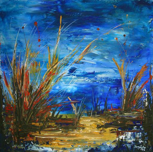 199 Verkaufte abstrakte Malerei - Unter dem Wasser gemalt - grün blau gelb