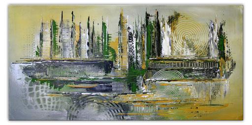 240 Verkaufte abstrakte Malerei grün grau querformat