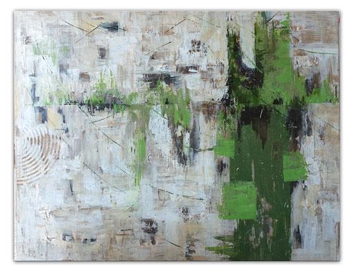 289 - Abstrakte Gemälde Verkauft - Waldrand grau grün 80x100