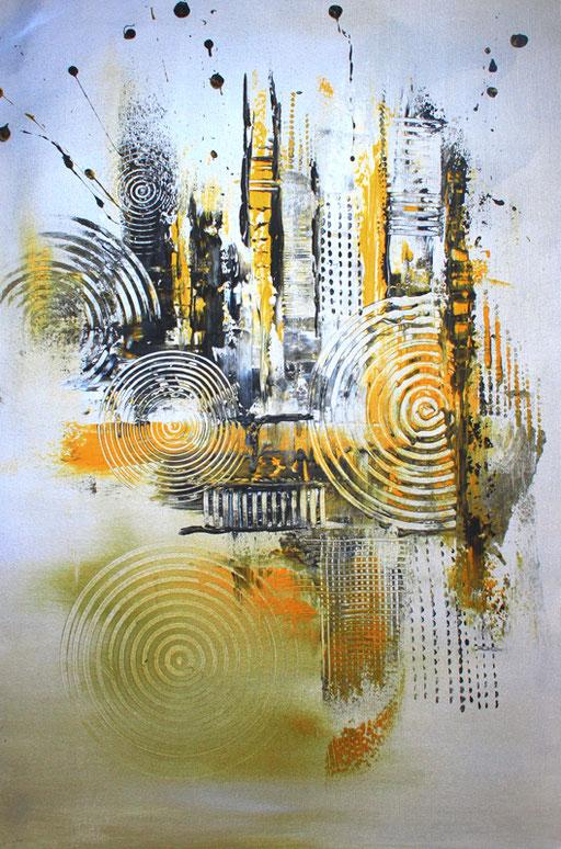 135 Verkaufte abstrakte Bilder - Silber Gold ocker