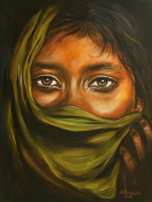 P 54 - Künstler Portrait Gesichter Gemalt - Inida Girl 1