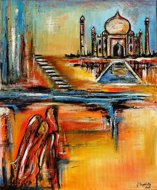 L 16 - Landschaftsbilder Gemälde - Taj Mahal abstrakt