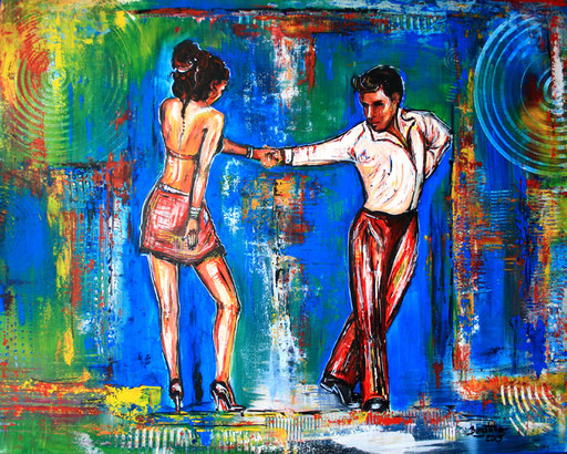 S 25 - Tanz Malerei - Tanzpaar Gemälde Tänzer - Tango 2