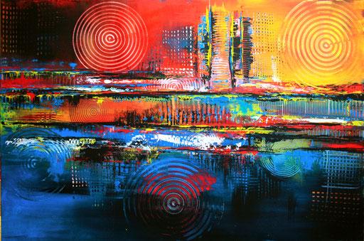 184 Verkaufte Bilder abstrakt - Symbiose gemalt 2 - blau rot gelb