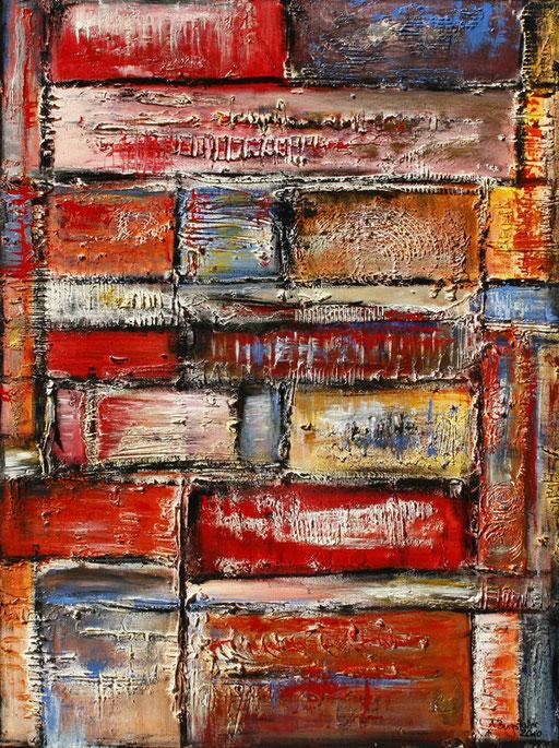 69 abstraktes Unikat handgefertigt - Geometrie - rot gelb blau orange