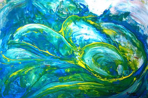 196 Verkaufte abstrakte Malerei - Sturmflut gemalt grün