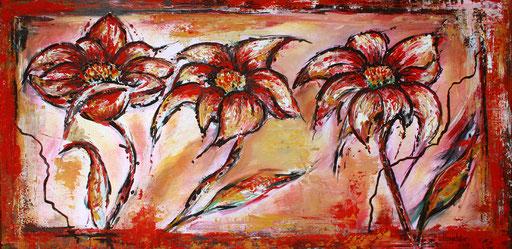 B 56 - Blumen Malerei Blumengemälde handgemalt Blumen Symphonie 50x100