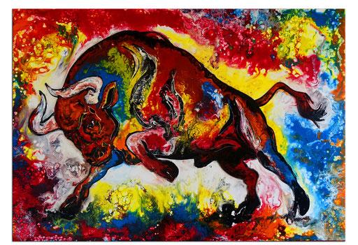 T 38 - Tierbilder Malerei Tiere - Wilder Stier abstrakt rot gelb