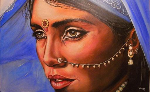P 40 - Künstler Portrait Gesichter Gemalt - Rajhastan Frau
