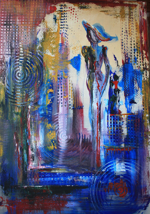 55 abstraktes Unikat handgefertigt - Figur - blau rot