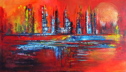 221 Verkaufte abstrakte Malerei - Feuer 4 rot orange blau