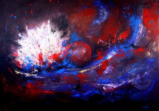 35 Kunst Unikat abstrakt - Entstehung XXL - blau rot weiß