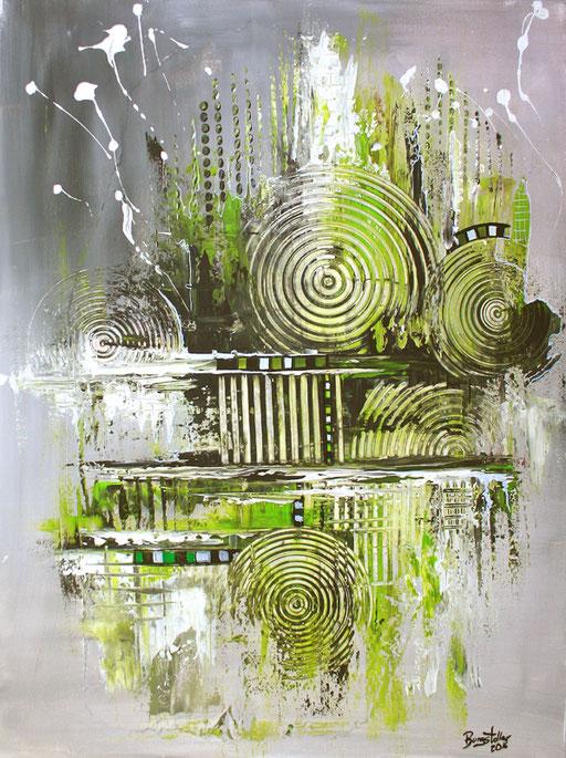130 Verkaufte abstrakte Bilder - Navigation gemalt - grün grau