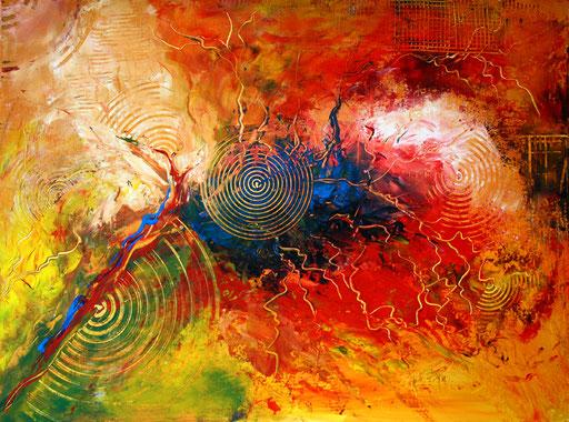 70 abstraktes Unikat handgefertigt - Gewitter - rot gelb blau orange