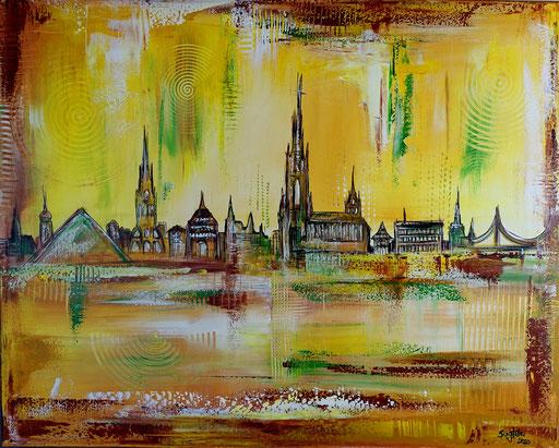 S 83 - Malerei Bild Wandbild Ulmer Skyline abstrakt