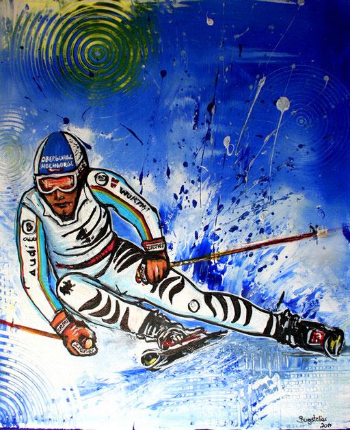 S 32 - Sport Gemälde Skifahrer Leinwandbild - Fritz Dopfer 17