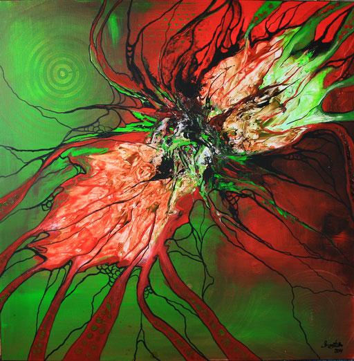 140 Verkaufte abstrakte Bilder - Phoenix gemalt - grün rot