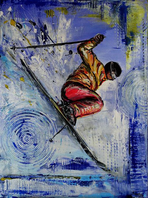 S 60 - Sport Gemälde Skifahrer Wandbild Skiläufer Jump
