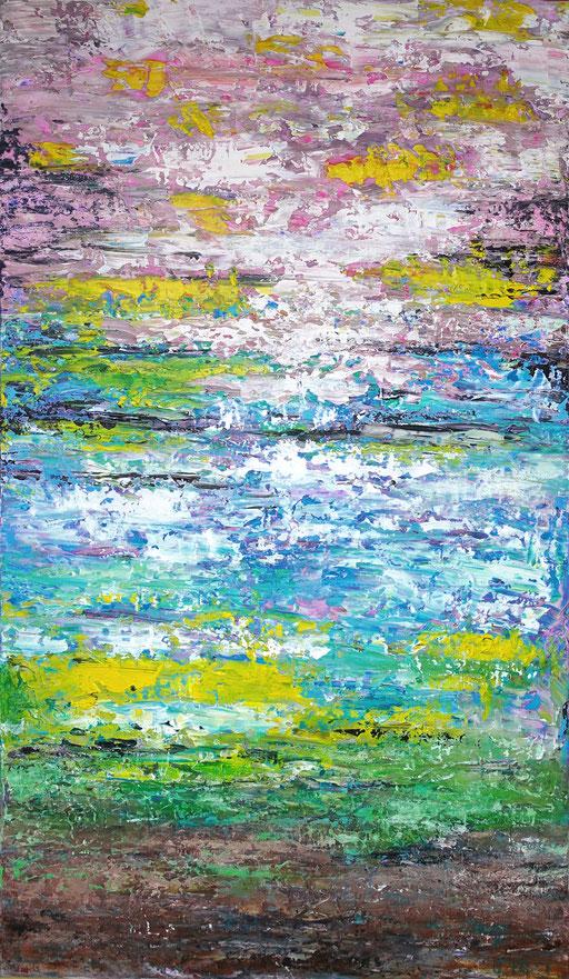 279 - Abstrakte Gemälde Verkauft - Seerosenteich abstrakt Auftragsmalerei