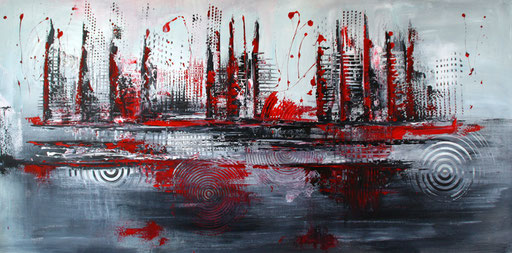 291 - Abstrakte Gemälde Verkauft - Rote Skyline 70x140