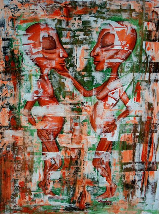 F 1 - Figuerliche Malerei - Figurative Wandbilder - Berührung