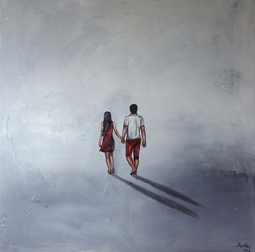 F 22 - Figuerliche Malerei - Figurative Wandbilder - Spaziergang Mann Frau