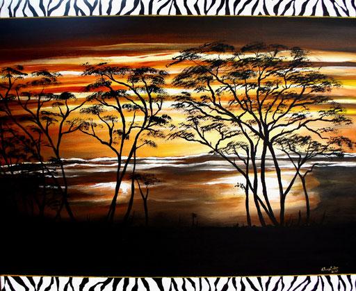 L 13 - Landschaftsbilder Gemälde - Sonnenuntergang Afrika Sunset