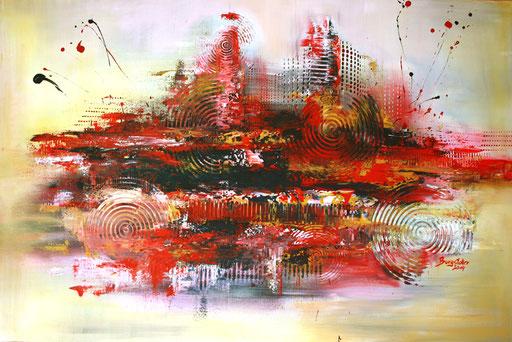 205 Verkaufte abstrakte Malerei - Vulcan gemalt - rot ocker gelb