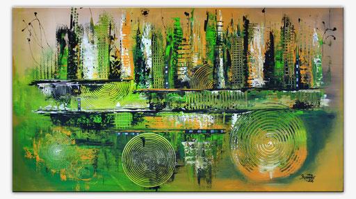 122 Verkaufte abstrakte Bilder - Motion gemalt - grün ocker