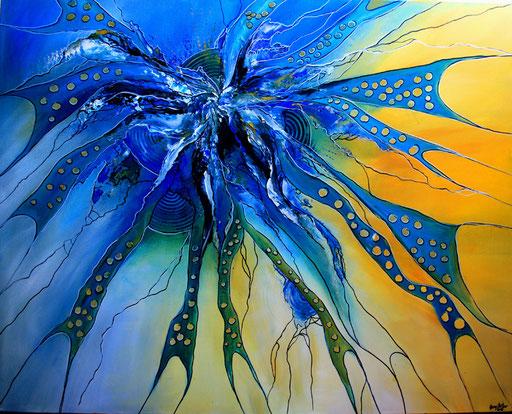 33 Kunst Unikat abstrakt - Deep View XXL - blau gelb